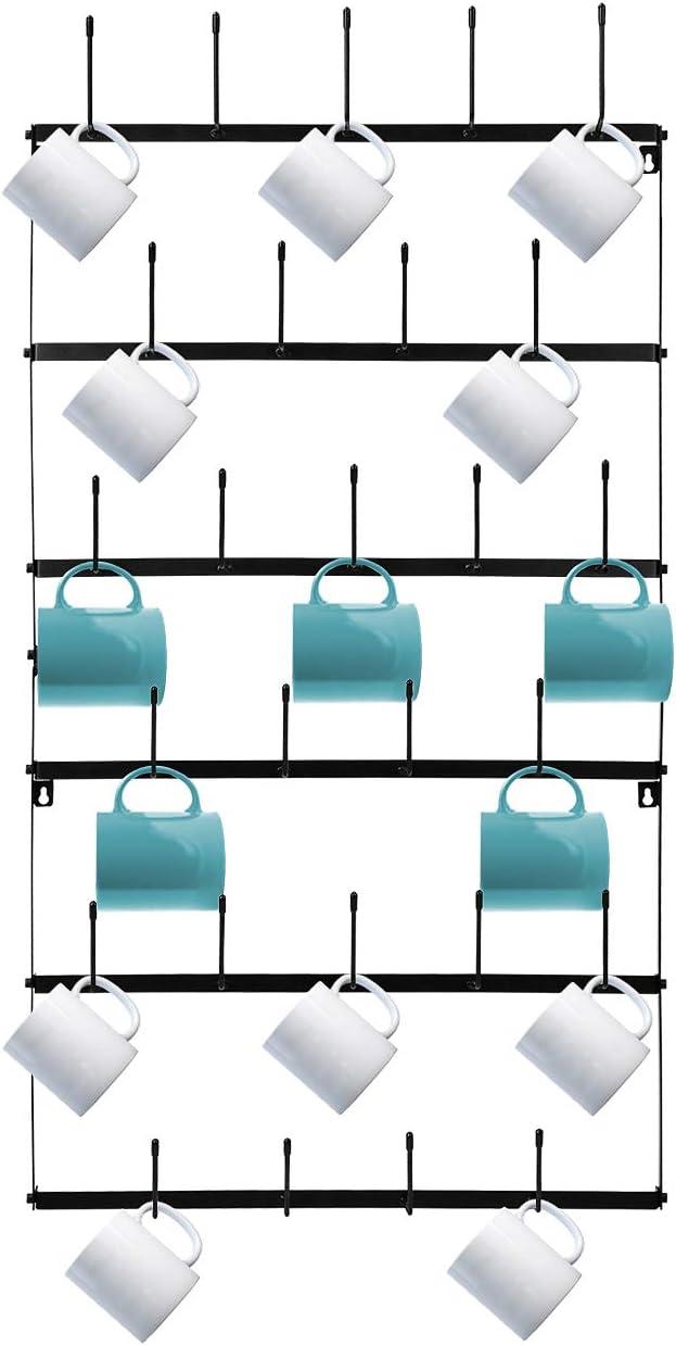 Sorbus Mug Rack Cup Holder - Wall Mounted Home Storage Mug Hooks with 6-Tier Display Organizer for Coffee Mugs, Tea Cups, Mason Jars, and More – Holds 27 Mugs – Black Metal (Large)