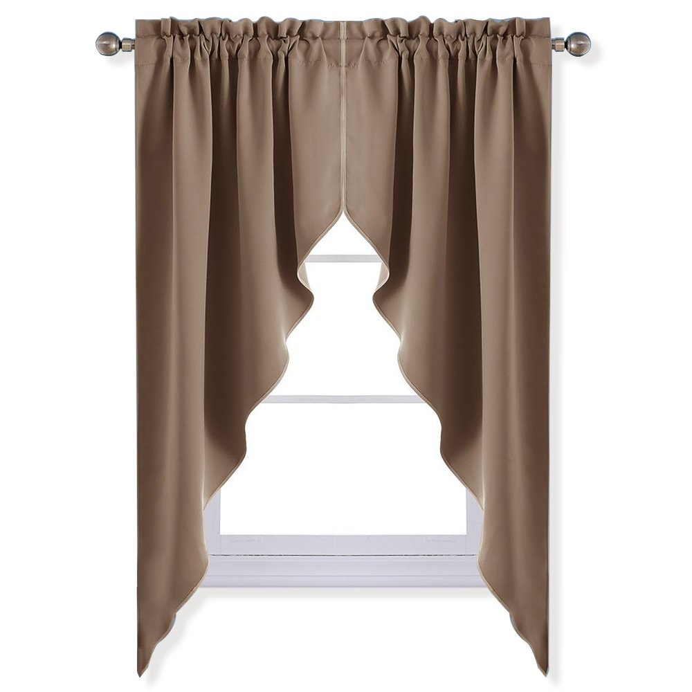 Details about NICETOWN Blackout Rod Pocket Kitchen Tier Curtains- Tailored  Scalloped Valance