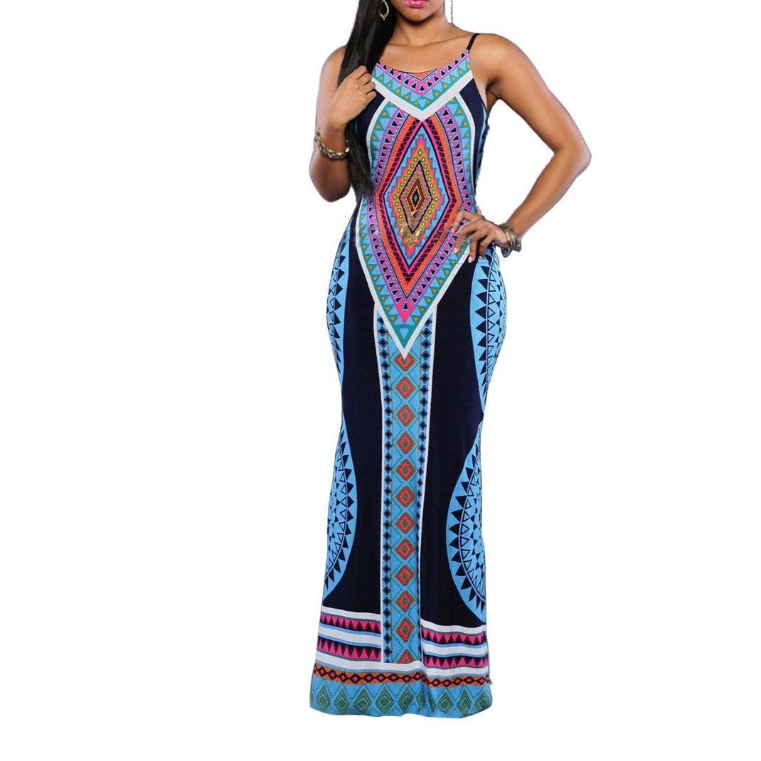 Women's Sexy Aztec Print Spaghetti Strap Backless Long Maxi Dress Blue M