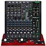Mackie ProFX10v3 10-Channel Professional Sound Reinforcement Mixer with Built-In FX + Basic Cables Bundles & Fibertique Microfiber Cleaning Cloth