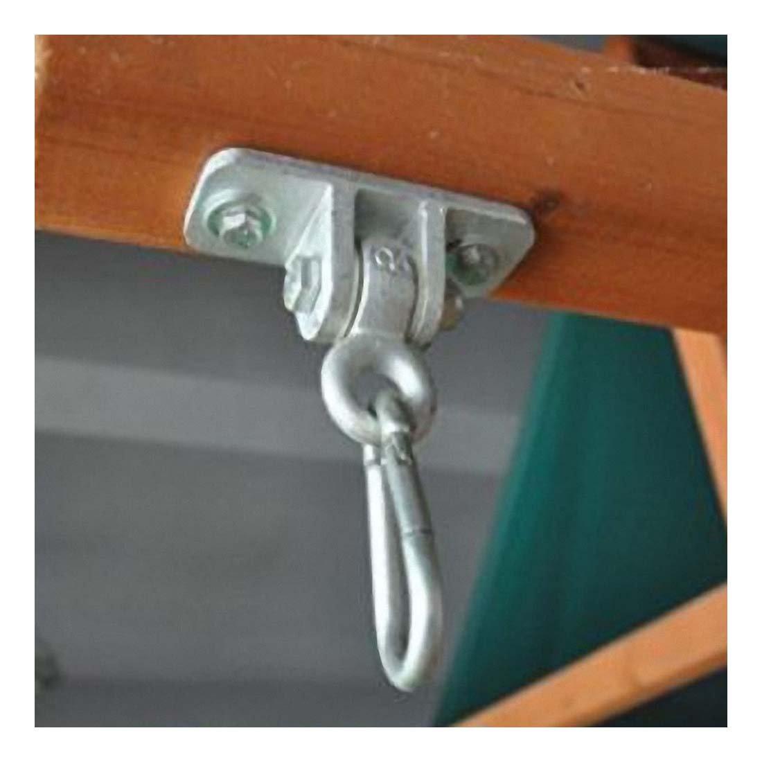 2 Heavy Duty Iron Swing Seat Hangers + 2 Hanging Snap Hooks - Indoor Outdoor DIY