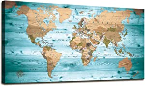 World Map Wall Art Vintage Photos World Map Poster Nautical Office Art Canvas Wall Art Modern Framed Art Map of The World Painting Canvas Art Canvas Prints for Living Room Travel Memory Home Decor