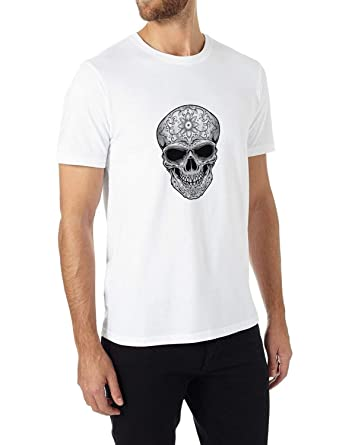 3854fa2c8 Amazon.com: DJ Custom Mens T-Shirt- Skull Floral Tattoo Design Sport Tees:  Clothing