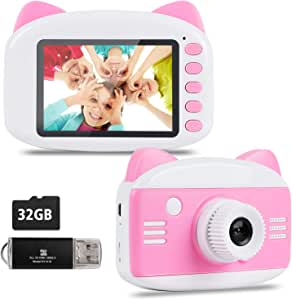 Kids Camera - Seanme 2019 New Upgraded Children Digital Camera Gift Toy for 3~12-Year-Old Boys/Girls, Child Camera Camcorder with Bonus 32GB TF Card & Card Reader (Pink)
