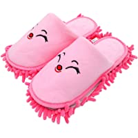 "Selric [Smiling Fox] Super Chenille Microfiber Washable Mop Slippers Shoes Pink, Floor Dust Dirt Hair Cleaner, Multi-sizes & Multi-Colors Available 9 7/9""[Size:5.5-8.5.]"