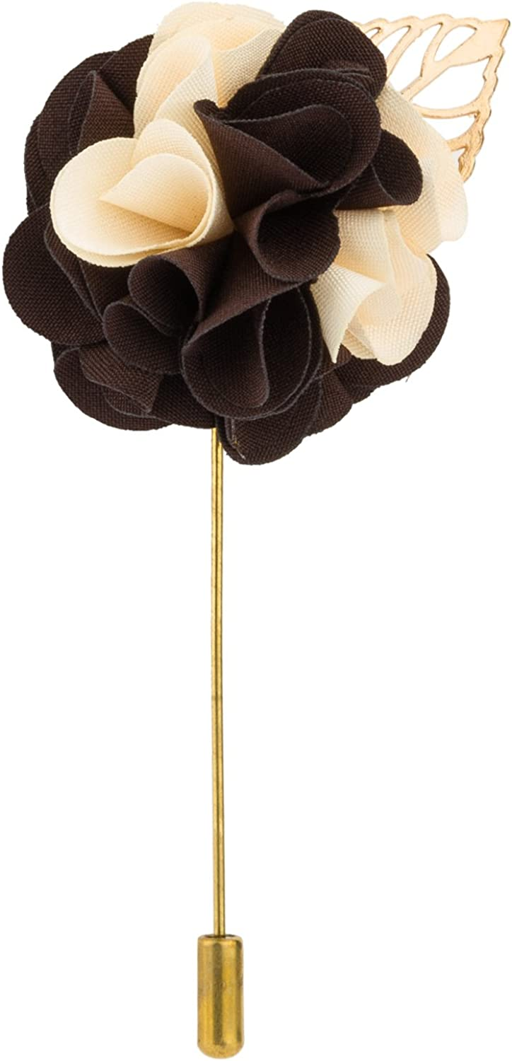Knighthood Mens Bunch Flower with Golden Leaf Lapel Pin for Suit