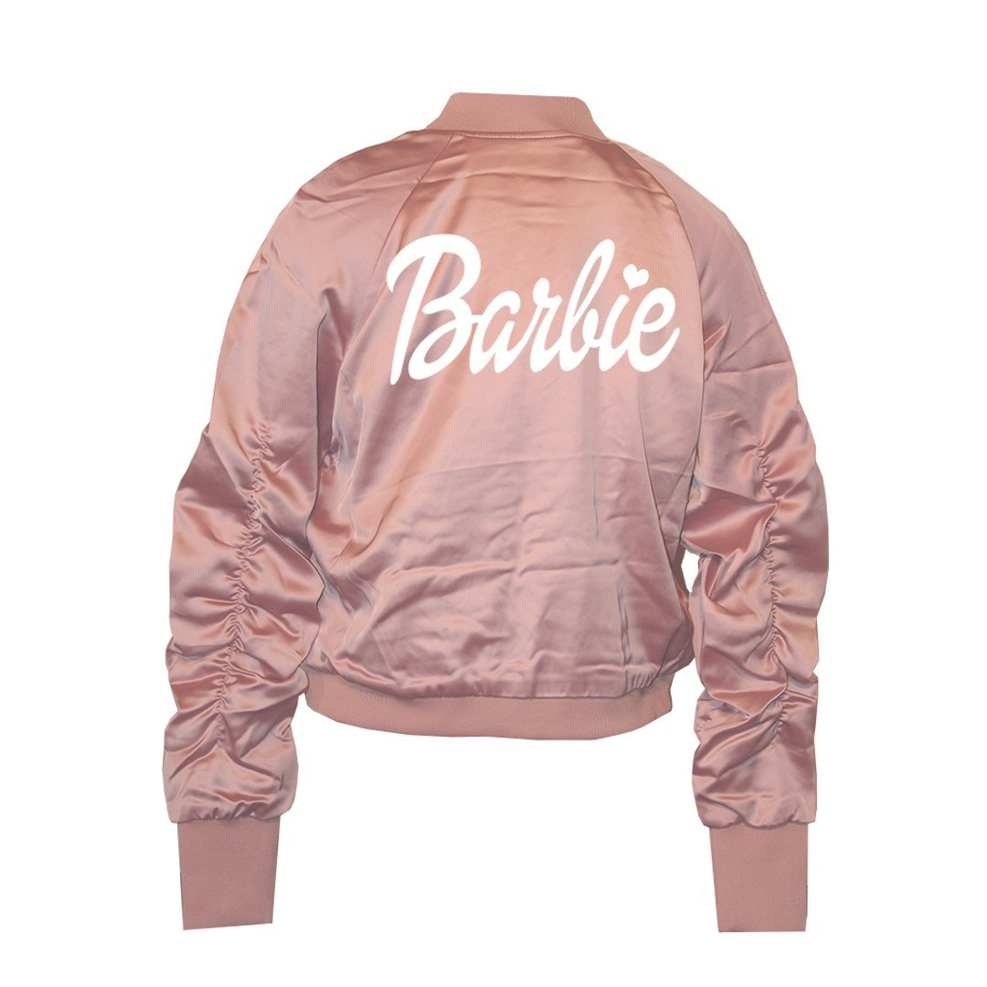 A Dash of Chic Barbie Pink Satin Bomber Jacket