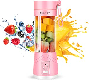 Portable Juicer Blender, Household Fruit Mixer - Six Blades in 3D, 380ml Fruit Mixing Machine with USB Charger Cable for Superb Mixing, USB Juicer Cup by Moer Sky (B)