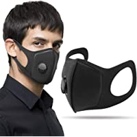 INDARUN Anti-smog Activated Carbon Mask, Washable Double-layer Filtration Mask with 360° Adjustable Breathing Valve for Odor, Dust, Smog, Pollen Allergy, Running, Outdoor Activities - 3 Pack