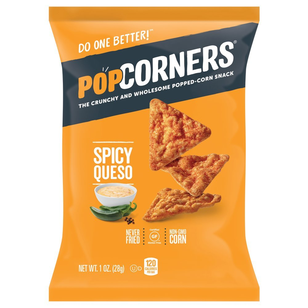 PopCorners Spicy Queso Snack Pack   Gluten Free Snack   (40 Pack, 1 oz Snack Bags) by Popcorners