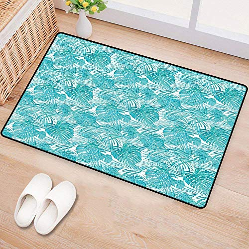 WilliamsDecor Light BluePrinted Door matNeo Camouflage Tropical Summer Pattern Palm Tree Leaves HawaiianEnvironmental Protection W20 xL31 Light Blue Turquoise White