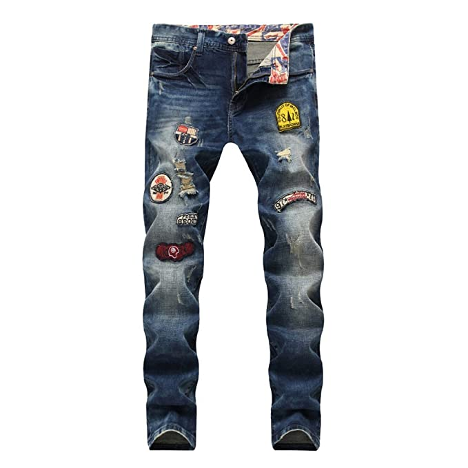 be57c3f85a Pantalones Vaqueros Rasgados De Los Hombres Jeans Rasgados Pantalones  Vaqueros Ajustados De Los Pantalones De Mezclilla Flacos Del Ocio Ocasional   ...