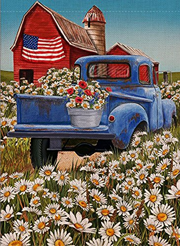 Dyrenson 4th of July Patriotic Welcome Garden Flag Double Sided, Rustic Farm Old Red Truck House Yard Flag, Daisy Garden Yard Flower Decorations, USA Seasonal Outdoor Flag 12.5 x 18 Gift