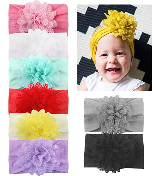 DANMY Baby Girl Nylon Headbands Newborn Infant Toddler Hairbands with Bows  Children Hair Accessories (Nylon bdc24d816b7