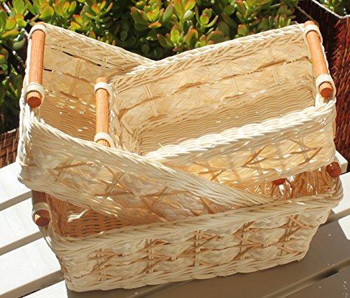 Cream Basket - RT430711-3 Handwoven Retangular Wicker Storage basket with Handle in cream (Set of 3)
