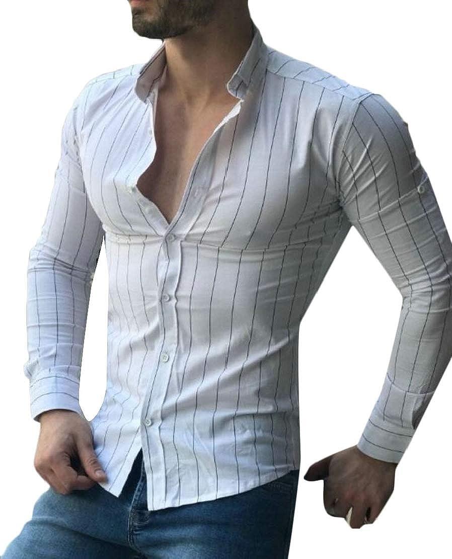 Qiangjinjiu Mens Cotton Long Sleeve Button Down Dress Shirt Slim Fit Shirt