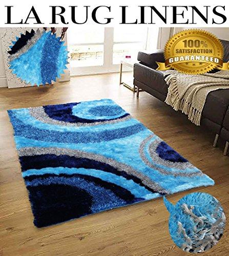 Shimmer Handmade Soft Touch Blue Peacock Aqua Shag Home Decor Area Rug Size 8'x10′ FT ( Signature 289 Turquoise )