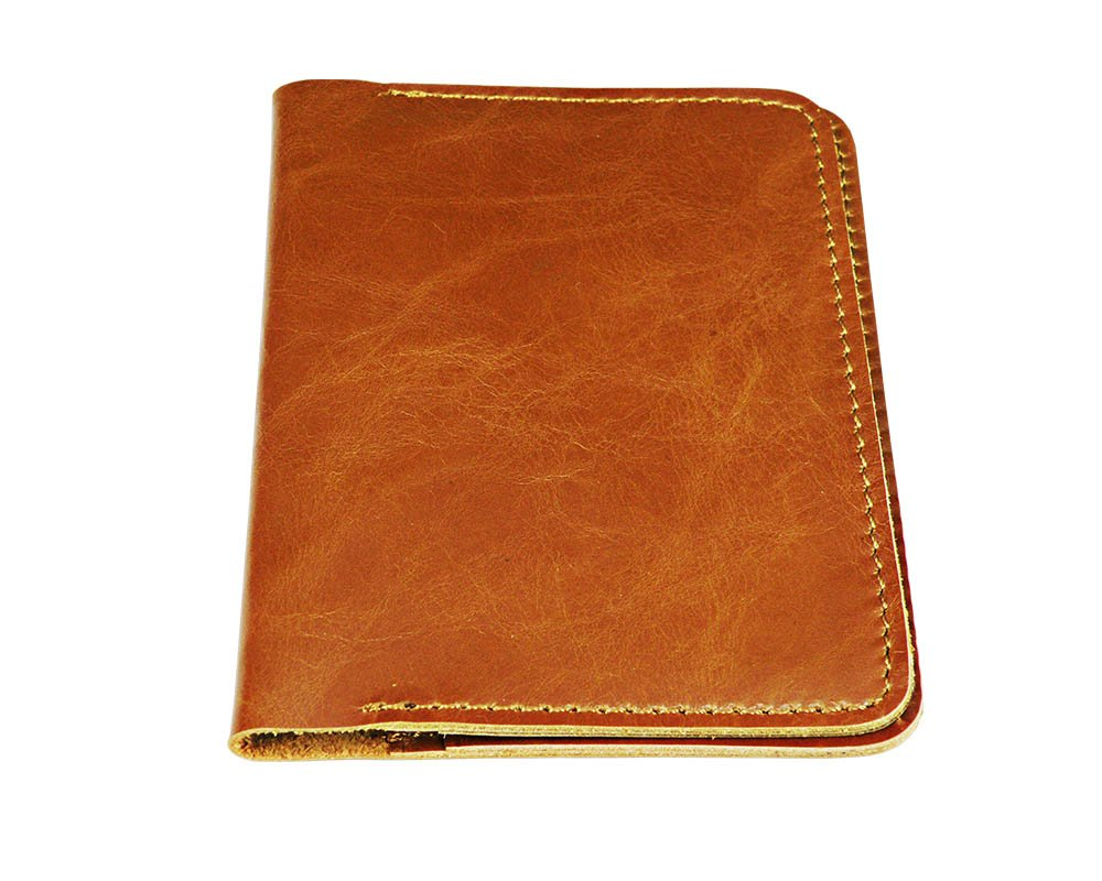 HAZZAR 100% Luxury Genuine Leather RFID Blocking Passport Holder Beige Color with Fabric Pocket and Premium Gift Box