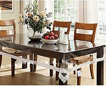 Kuber Industries PVC Dining Table Cover 6 Seater - Transparent Table Cloths at amazon