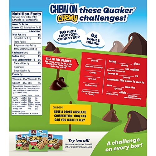 Breakfast Foods Quaker Chewy Granola Bars, Chocolate Chip ... Quaker Granola Bars Nutrition Facts