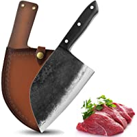 Professional Butcher Knife Handmade Forged Kitchen Chef Knife Full Tang High Carbon Clad Steel Butcher Cleaver with…