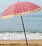 Beach Umbrella, Thalia with Fringe, Designed by Beach Brella / 100% UV Sun Protection, Lightweight, Portable & easy to setup in the Sand and secure in the Wind