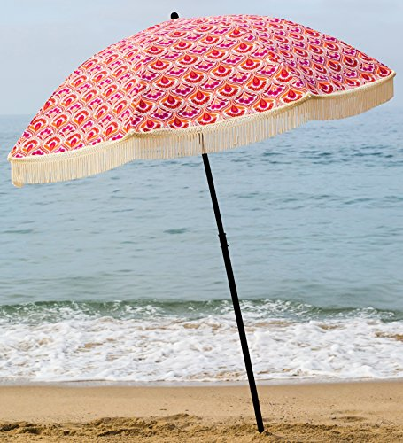 Beach Umbrella, Thalia with Fringe, Designed by Beach Brella / 100% UV Sun Protection, Lightweight, Portable & easy to setup in the Sand and secure in the Wind (Brella Lights)