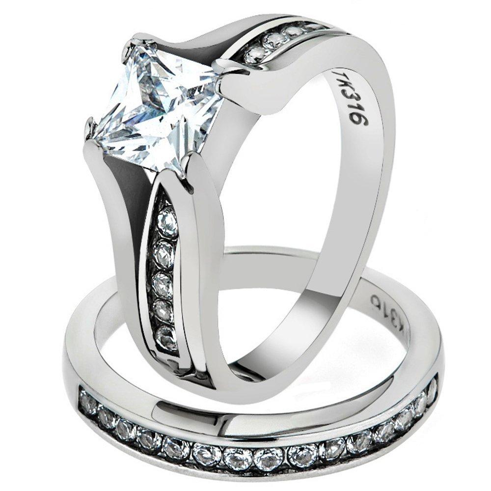 Marimor Jewelry Women's Stainless Steel 316 Princess Cut 1.3 Carat Zirconia Wedding Ring Set FBACAARTK0W383