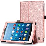 Fire HD 8 Case(2016 6th Generation), BENTOBEN Glitter Sparkly Folio Folding Stand Cover with Stylus Holder & Auto Wake/Sleep Luxury Bling Shiny Smart Case for Fire HD 8 Tablet 6th Generation,Rose Gold