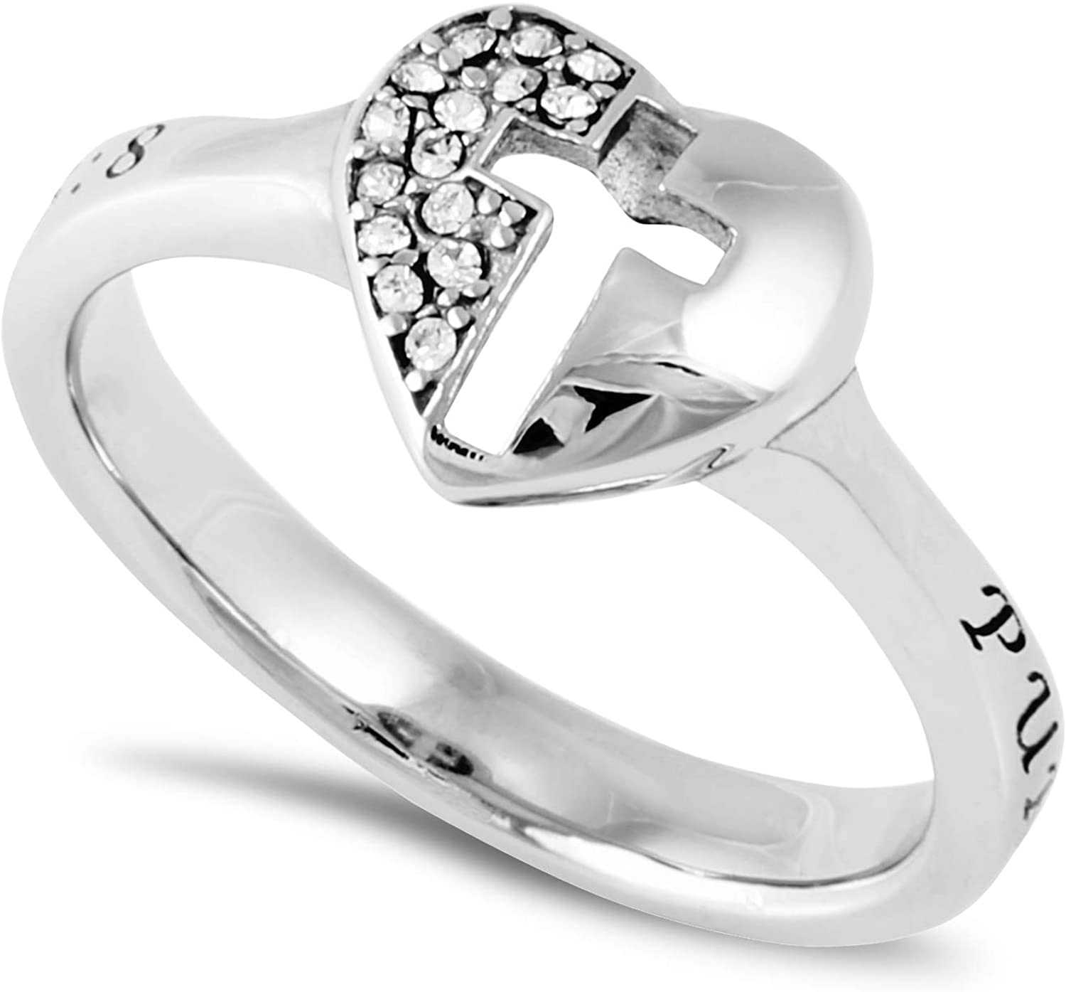 Lady/'s Stainless Steel Ring with Cubic Zirconia Gem Non-Tarnish US Sizes 5-8 NEW