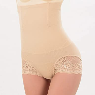 2045441123 Women High Waist Body Shapers Panties Seamless Belly Control Slimming  Underwear Lace Tummy Pants Shapewear Beige