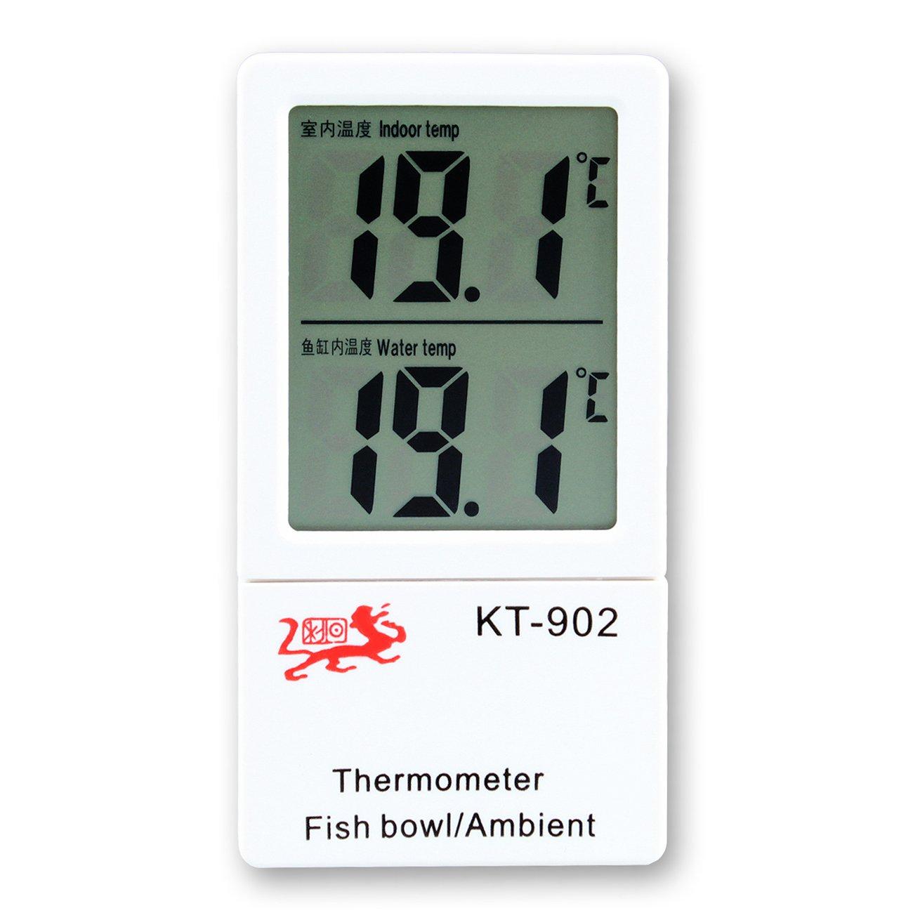 Tera Fishbowl Fish Tank Aquarium and Ambient Indoor Temperature Dual Digital LCD Thermometer
