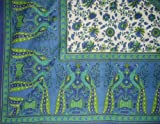 Floral Peacock Tapestry-Spread-Coverlet-Many Uses-Blue