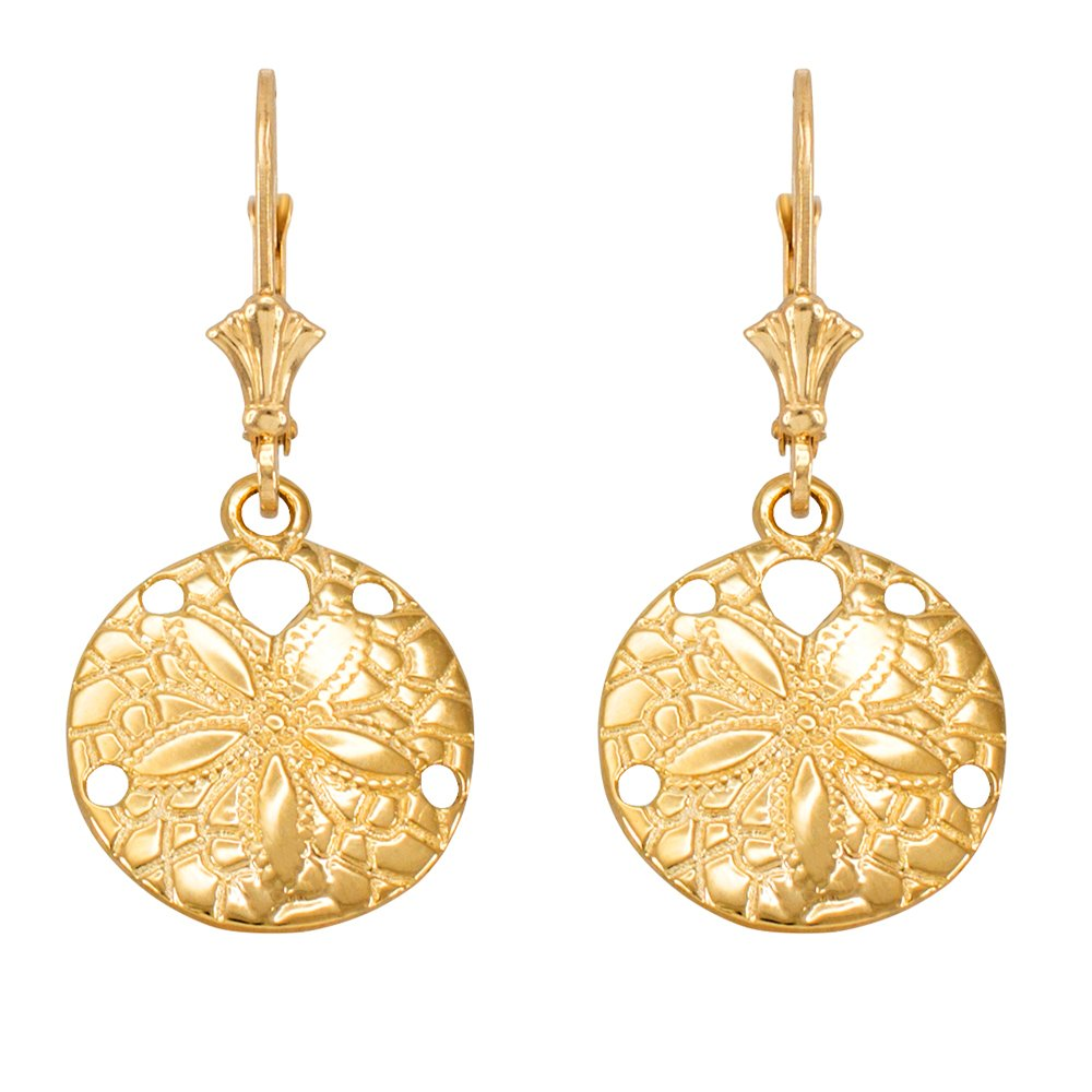 14k Yellow Gold Sea Star Sand Dollar Leverback Earrings