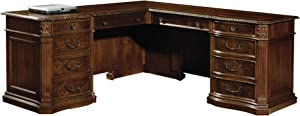 Hekman Old World Walnut Burl L-Shaped Desk