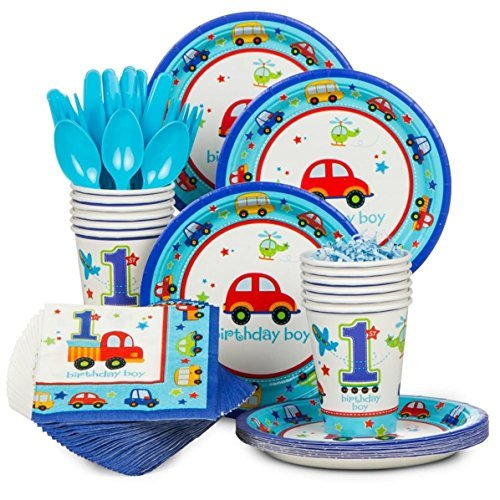Lovever All Aboard Boy 1st Birthday Deluxe Party Supplies Pack Including Plates, Cups, Napkins,Spoons,Forks,Knives(18 Guests)