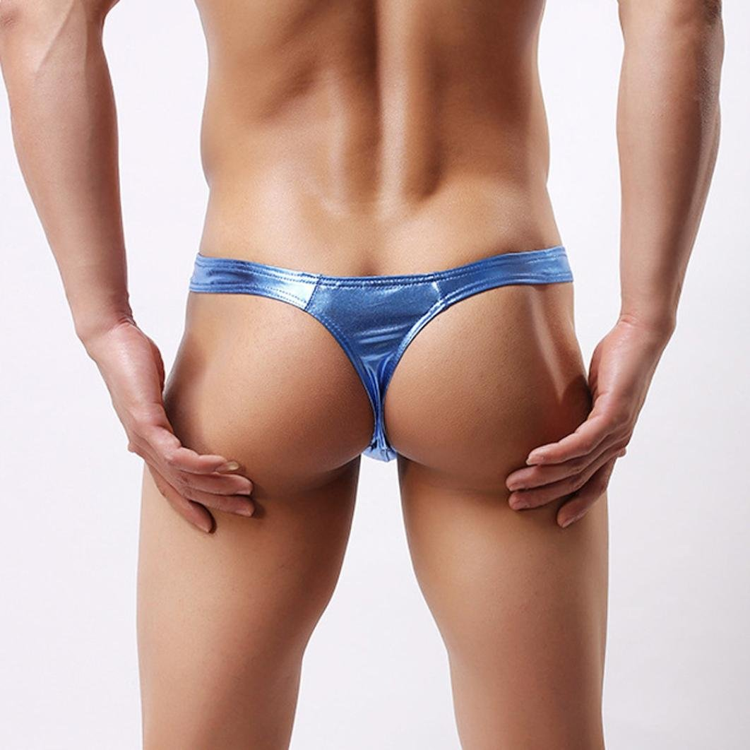 Unterhose M/änner Unterw/äsche Ronamick M/änner Lackleder Tasche Farbblock T-f/örmige Unterw/äsche Push Up Knickers Shorts Slips Underwear Badehose S, Blau