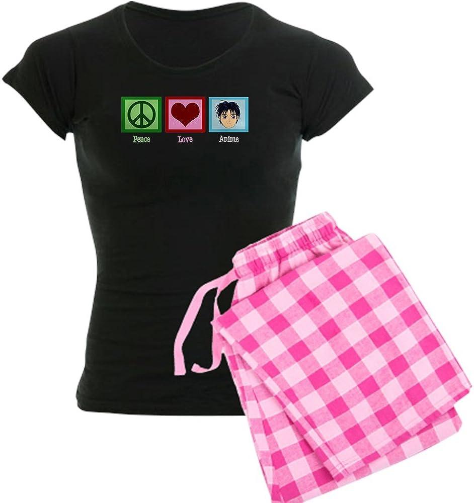 CafePress Peace Love Anime Womens Dark Pajamas Womens PJs