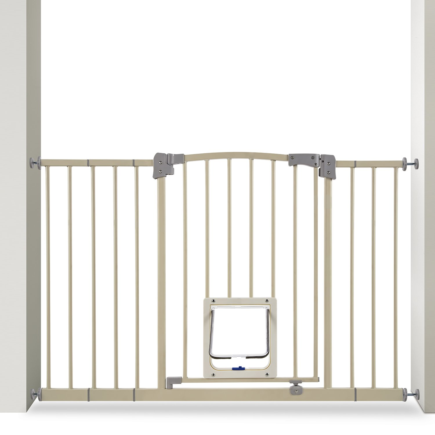 Paws & Pals Dog Gate Multifunctional Indoor Metal Baby Barrier - Adjustable Tall-Wide Fence for House Doorway with Lockable Pet Door Flap- 53'' Max Extendable by Paws & Pals (Image #2)