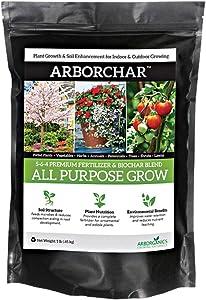 ARBORChar All Purpose Grow Fertilizer and Biochar Blend, 5-6-4 (1 Pound)