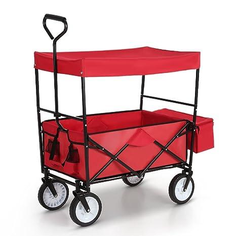 ikayaa carro de transporte plegable con toldo utilidad jardín, casa de playa de la compra