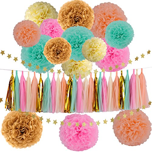 Wedding Party Decorations 42 pcs Gold Mint Green Pink Peach Cream Tissue Paper Pom Poms Flowers Tissue Tassel Garland Gold Glitter Five-pointed Star Garland Kit