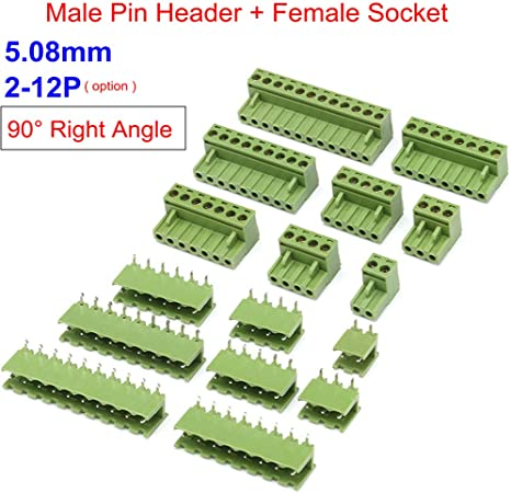 10Pcs NEW KF2EDGK KF-2P 2PIN Right Angle Plug-in Terminal Connector 5.08mm Pitch