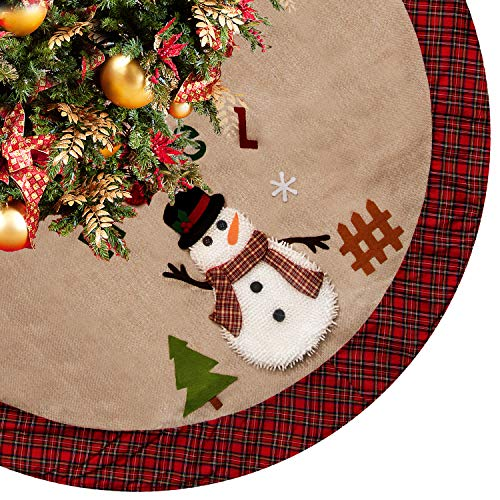 "CELIVESGG 48"" Burlap Christmas Tree Skirt with Santa,Country Xmas Tree Decorations Tree Skirts Double Layers Holiday Ornaments with Buffalo Plaid Edges"