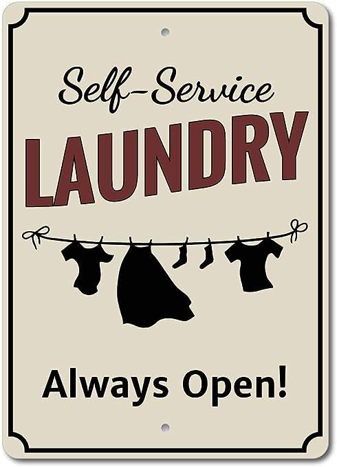 CHUNZO Clothes Line Laundry Always Open creativit/à del Segno della Parete Targa in Metallo Personalizzata Arte Vintage Foglio Artigianato Appeso Poster Cafe Bar Garage