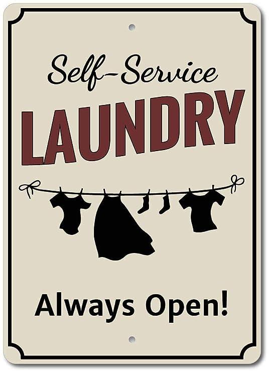 Clothes Line Laundry Always Open Póster de Pared Metal ...