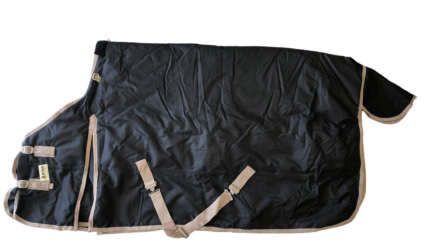 Heavy Weight Horse Turnout Blanket 1200D Rip Stop Water Proof Black 72 by AJ Tack Wholesale