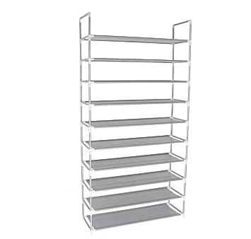 10 Tier Shoe Rack Space Saving Shoe Tower Shelf Cabinet, 50 Pairs Portable  Shoe