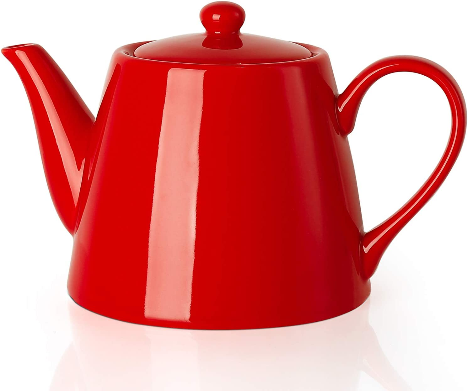 Sweese 223.104 Porcelain Teapot, 28 Ounce Serving Teapot for 2, Red