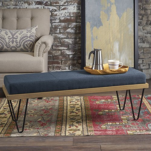 Elaina Bench | Perfect for Dining Table or Entry Way | Danish, Minimal, Mid Century Modern Design | Hairpin Leg | Fabric in Navy Blue